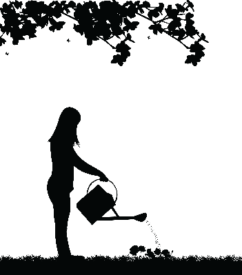 Woman Gardener Watering Flowers | Clipart