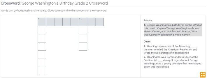 George Washington's Birthday | Grade 2 Crossword