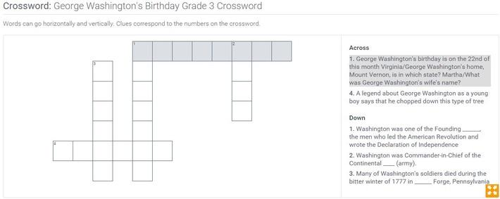 George Washington's Birthday | Grade 3 Crossword