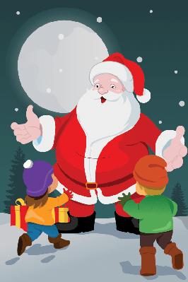 Little Kids With Santa Claus | Clipart