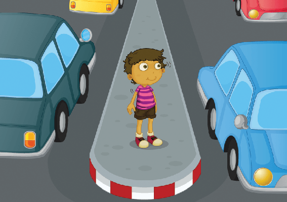 flagger and kids crossing the street clipart the arts