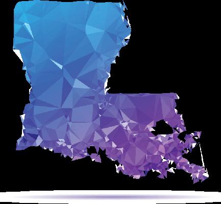 Polygon Triangle Map, Blue: Louisiana | Clipart