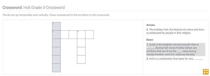 Holi | Grade 3 Crossword