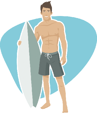 Young Guy Surfer Holds Surfboard | Clipart