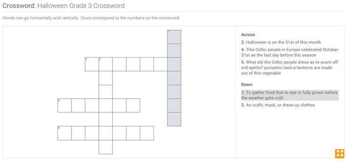 Halloween | Grade 3 Crossword
