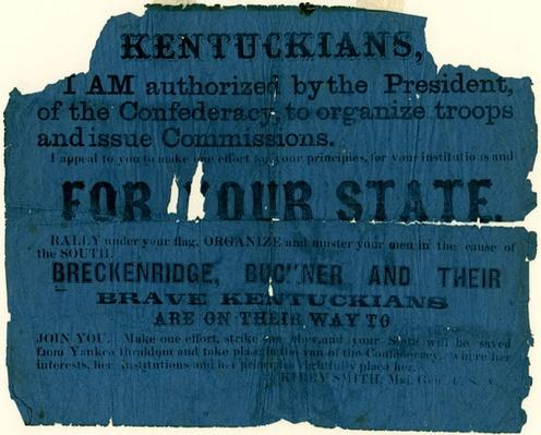 tattered blue handbill encouraging people to fight for the south