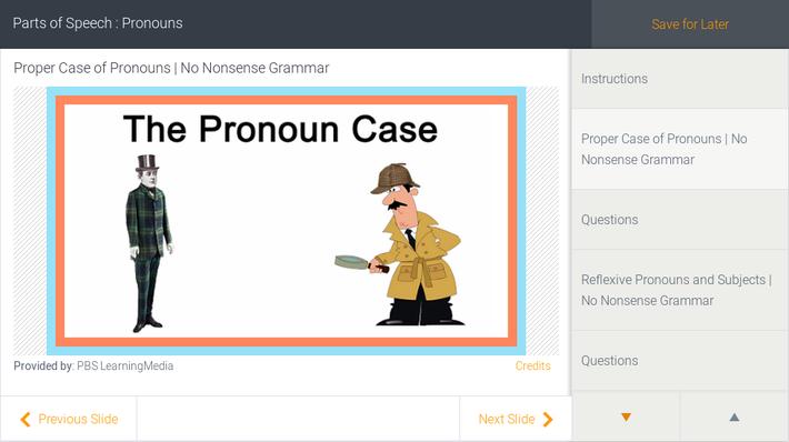 Parts of Speech : Pronouns