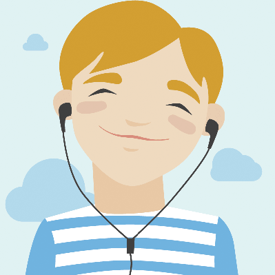 Joyful Boy Listening Music: Illustration | Clipart