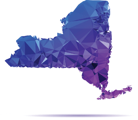 Polygon Triangle Map, Blue: New York State | Clipart