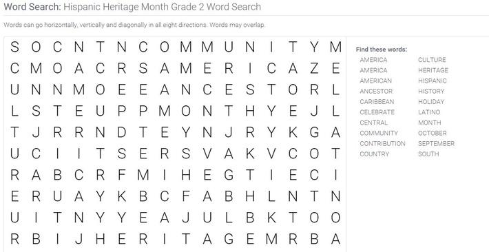 Hispanic Heritage Month | Grade 2 Word Search