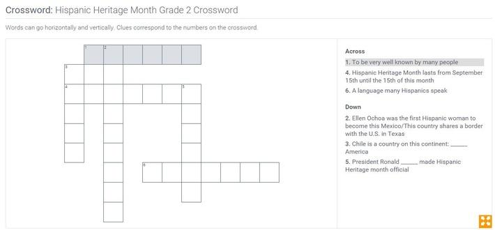 Hispanic Heritage Month | Grade 2 Crossword