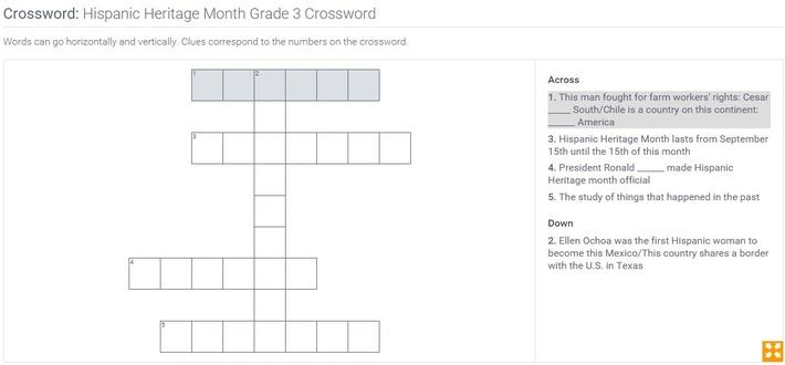 Hispanic Heritage Month | Grade 3 Crossword