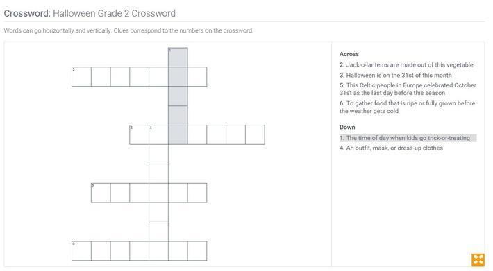Halloween | Grade 2 Crossword