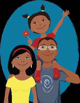 Happy Cartoon Family Portrait | Clipart
