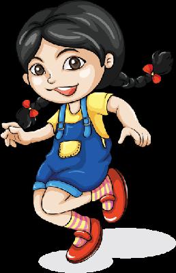 Happy Asian Girl Dancing | Clipart