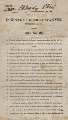 """a copy of a Kentucky House bill that the owner diagreed with. It reads """"The Bloody Bill"""" at the top."""