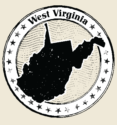 West Virginia Grunge Map Black and White Stamp Collection | Clipart
