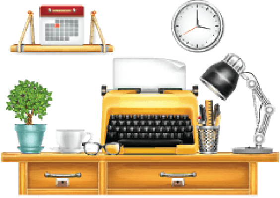 Desk with Typewriter | Clipart