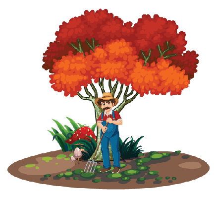 Gardener Cleaning The Yard | Clipart