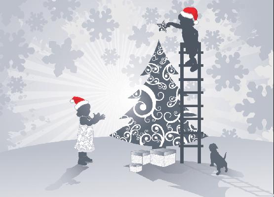 Girl and Christmas Star   Clipart