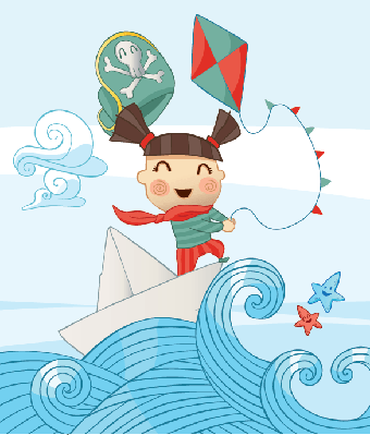 Little Pirate Girl Scene with a Kite | Clipart