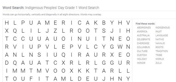 Indigenous Peoples' Day | Grade 1 Word Search