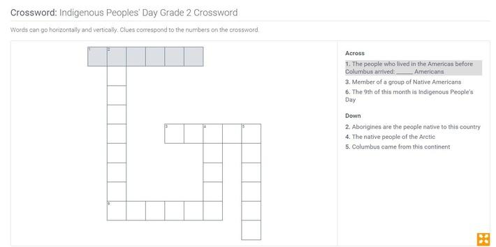 Indigenous Peoples' Day | Grade 2 Crossword