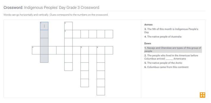 Indigenous Peoples' Day | Grade 3 Crossword