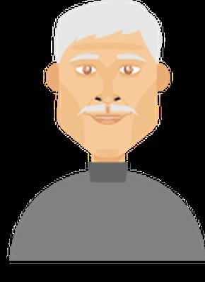 Men's Hair - Full Head of Hair w/ Mustache 3 | Clipart