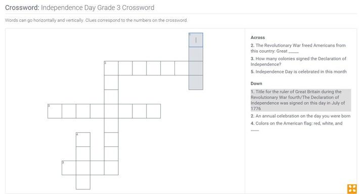 Independence Day | Grade 3 Crossword
