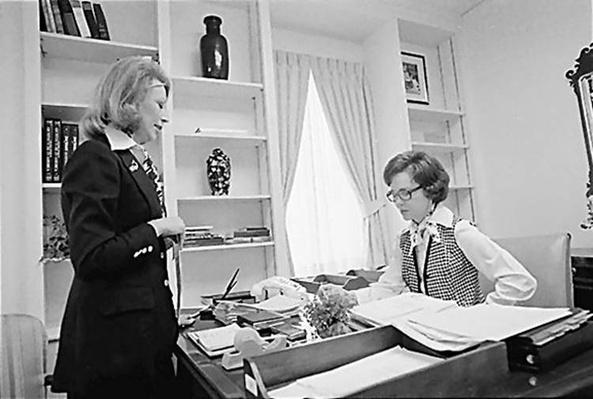 Rosalynn Carter meets with her personal assistant, Madeline McBean