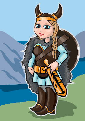Viking Girl on A Background of Mountains and Sea | Clipart