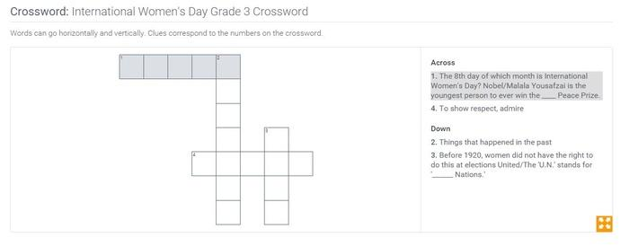 International Women's Day | Grade 3 Crossword