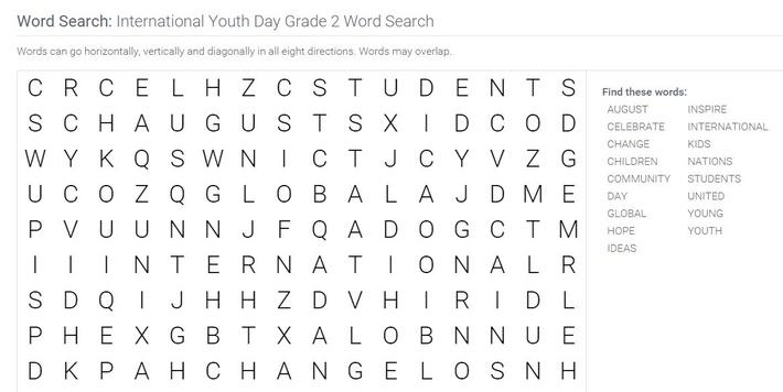 International Youth Day | Grade 2 Word Search