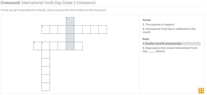 International Youth Day | Grade 2 Crossword