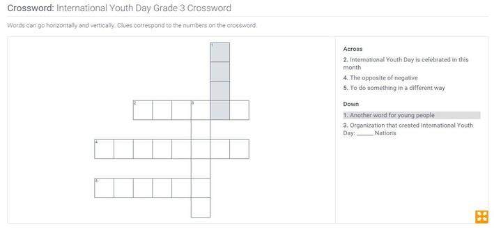 International Youth Day | Grade 3 Crossword