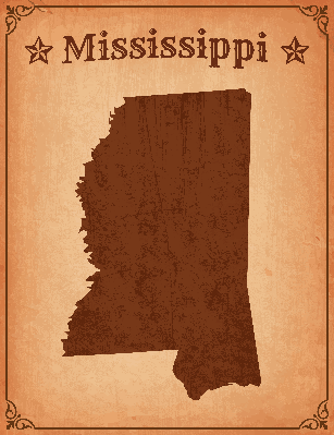 Mississippi Grunge Map with Frame | Clipart