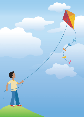 Flying A Kite | Clipart