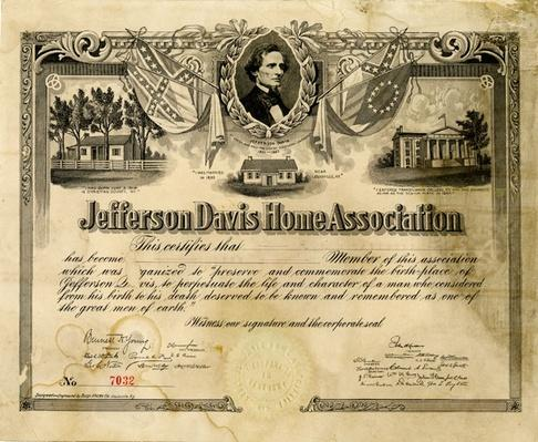 certificate with a portrait of jefferson davis and three houses beneath