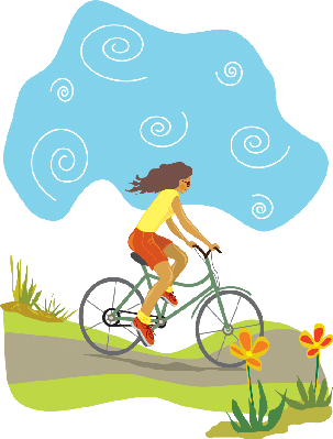 Bikes and Bicycles - Woman Riding Downhill | Clipart