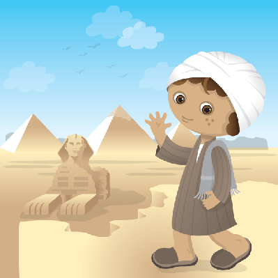 Egyptian Boy At Great Spynx Of Giza | Clipart