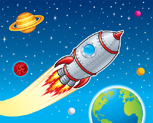 Rocket Ship Blasting Through Space | Clipart