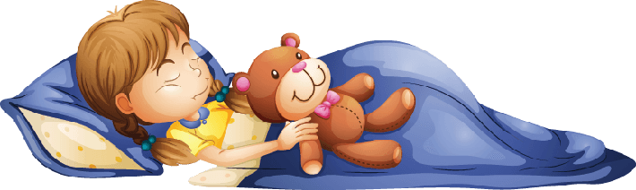Young Girl Sleeping with a Toy | Clipart