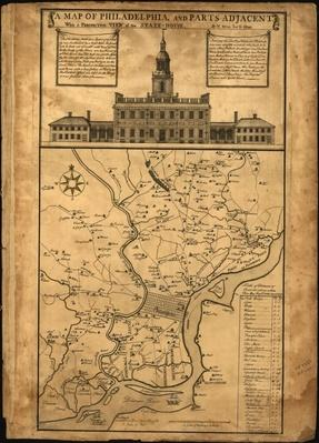 Philadelphia Map with Statehouse, 1752