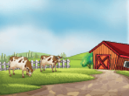 Two Cows At The Farm with A Barn and Fence | Clipart