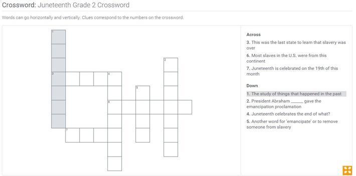 Juneteenth  | Grade 2 Crossword