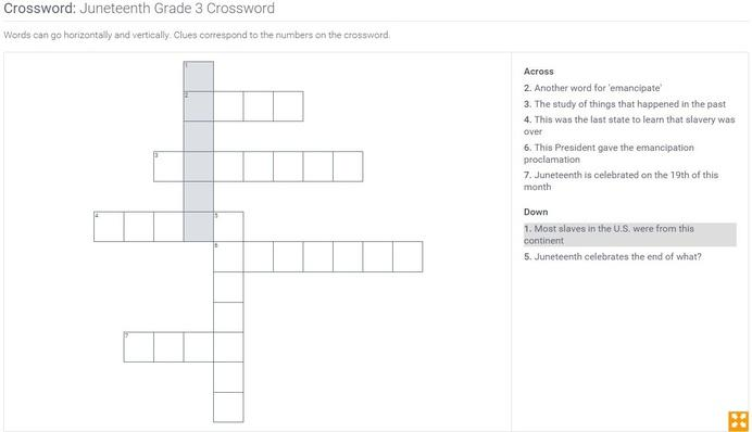 Juneteenth  | Grade 3 Crossword