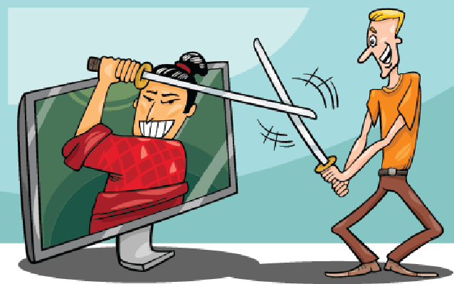 Cartoon Man and interactive Television | Clipart