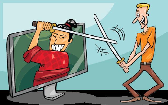 Cartoon Man and interactive Television | Clipart