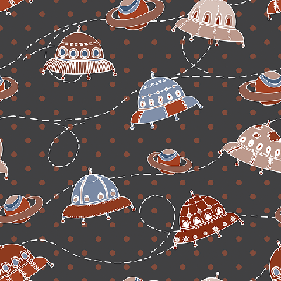 Cute Cartoon: Hand-Drawn UFO; Seamless Pattern | Clipart